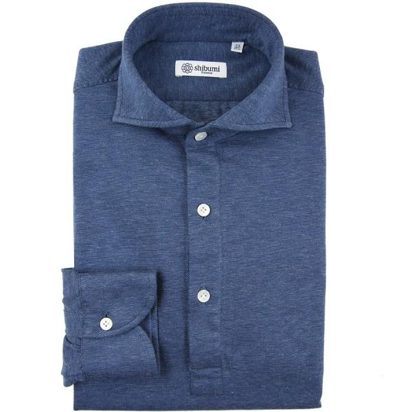 Long Sleeved Polo Shirt - Wide Spread - Blue Birdseye - Cotton/Cashmere
