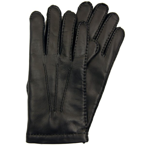 Deerskin Gloves With Cashmere Lining - Black