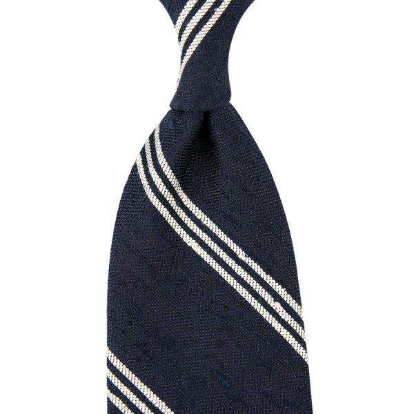 Triple Bar Soft Shantung Silk Tie - Navy - Hand-Rolled