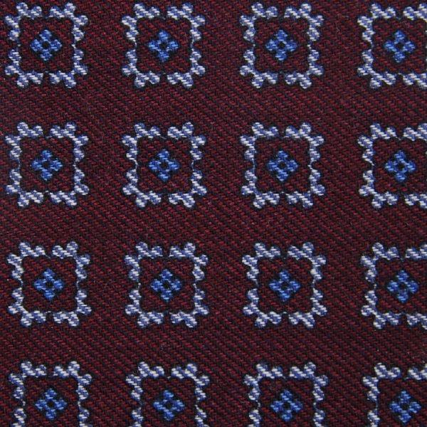 Floral Motif Wool Bespoke Tie - Burgundy