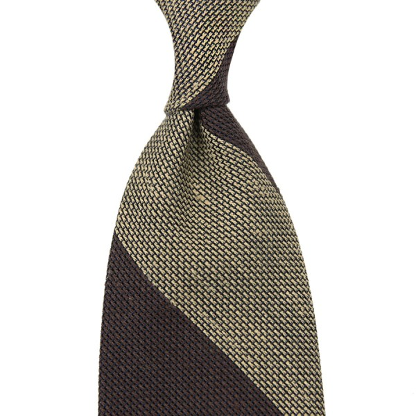 Block Stripe Grenadine / Garza Fina Linen / Silk Tie - Chocolate / Beige
