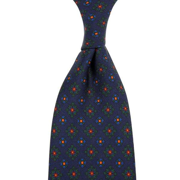 Ancient Madder Silk Tie - Navy IX - Hand-Rolled