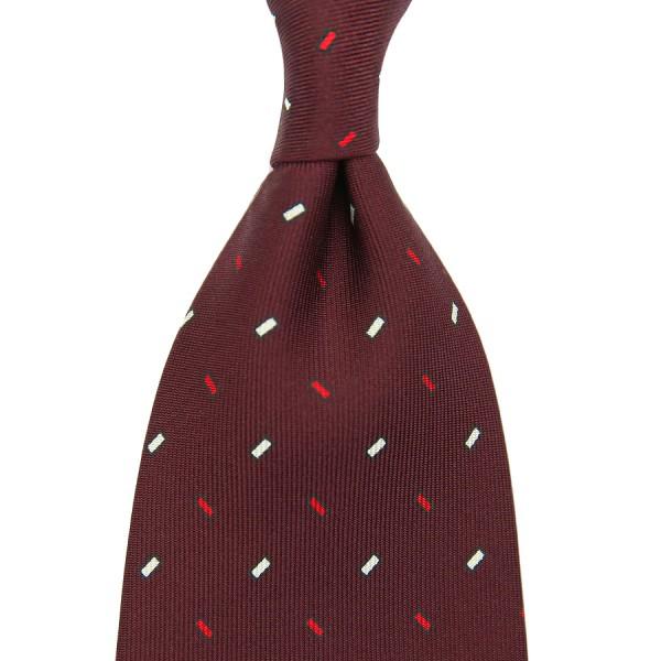 Geometrical Printed Silk Tie - Burgundy - Handrolled