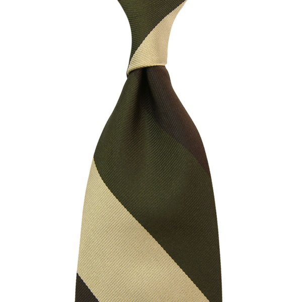 Triple Block Stripe Silk Tie - Brown / Olive / Beige - Handrolled