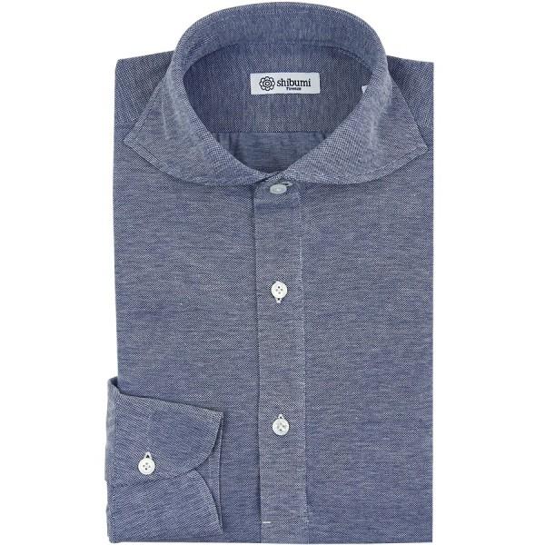 Long Sleeved Polo Shirt - Wide Spread - Denim Birdseye - Cotton - Regular Fit