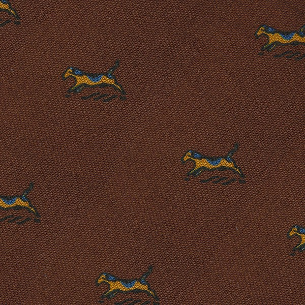 Animal Printed Wool Challis Bespoke Tie - Brown