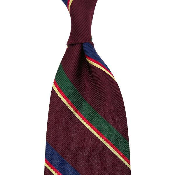 Repp Stripe Silk Tie - Burgundy - Handrolled