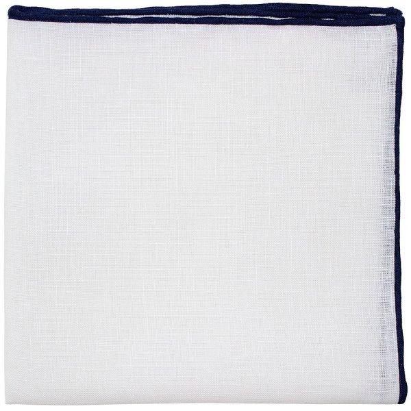 Irish Linen Shoestring Pocket Square - White / Navy