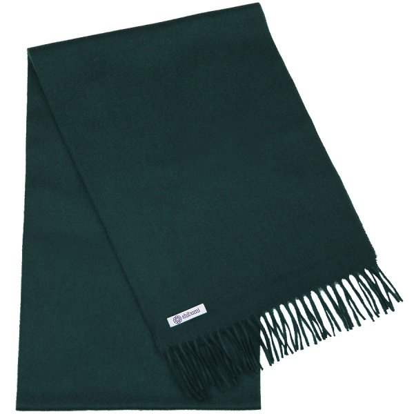Cashmere Scarf - Bottle Green - Plain