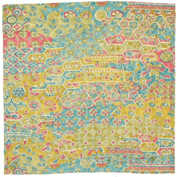 Vintage Kimono Silk Pocket Square - Gold