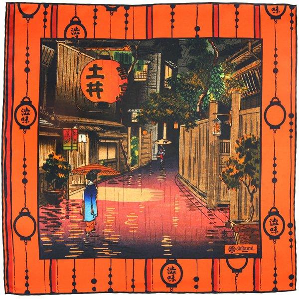Ukiyo-e Silk Pocket Square - Beni Chochin - 40x40cm