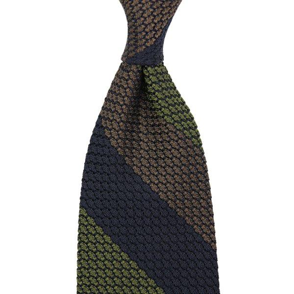 Triple Stripe Grenadine / Garza Grossa Silk Tie - Navy / Olive / Brown