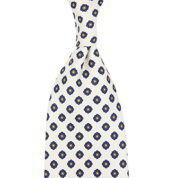 Shibumi-Flower Printed Silk Tie - White - Hand-Rolled