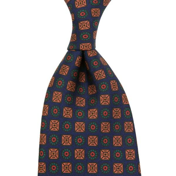 Ancient Madder Silk Tie - Navy III - Handrolled