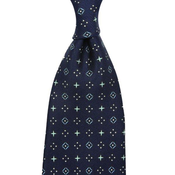 50oz Floral Printed Silk Tie - Midnight - Hand-Rolled
