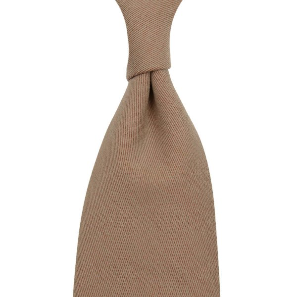 Vintage Gum Twill Wool Tie - Solaro Beige - Hand-Rolled