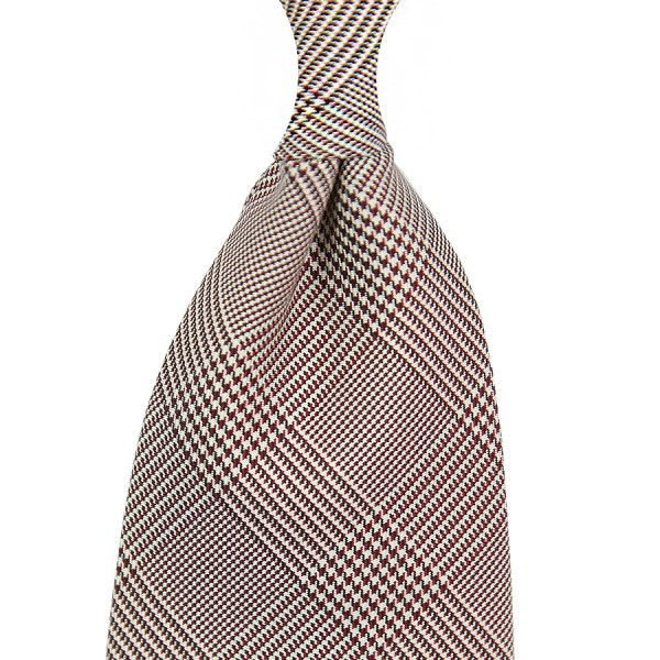 Glencheck Woven Silk Tie - Burgundy / White - Self Tipped