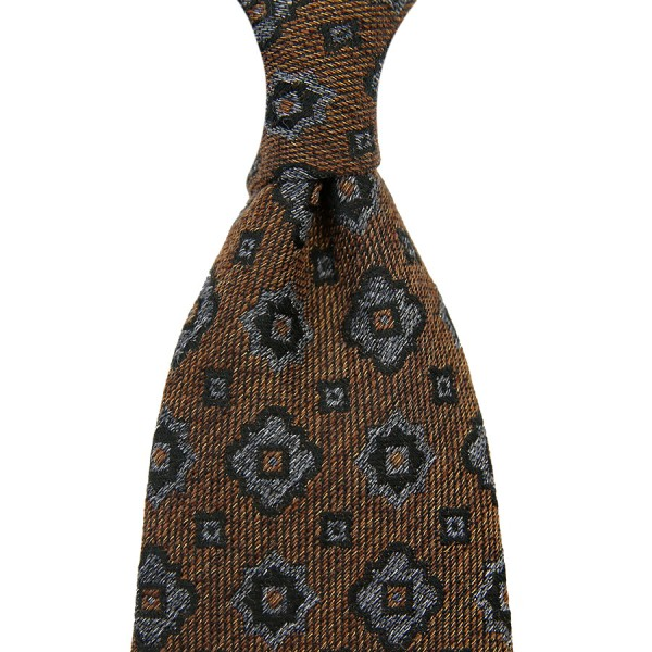 Floral Cotton / Silk Boucle Tie - Beige - Handrolled