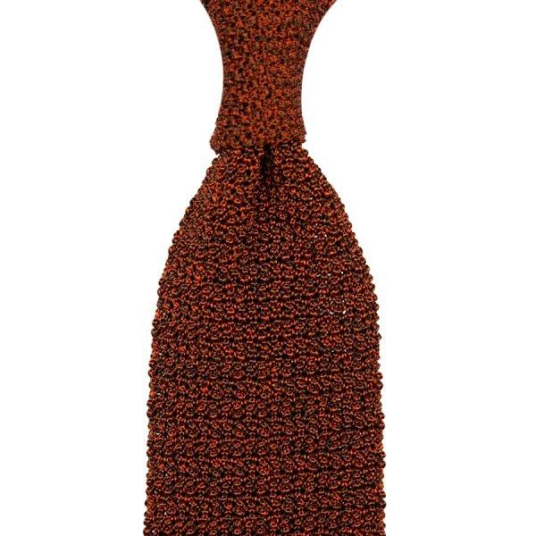 Crunchy Silk Knit Tie - Rust Mottled