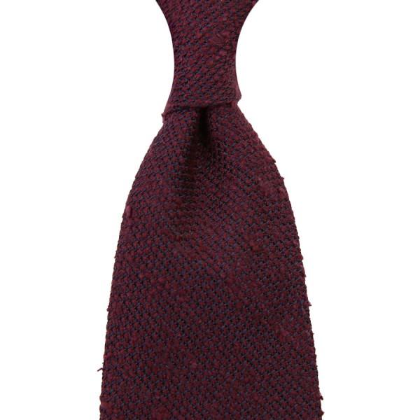7-Fold Shantung Grenadine Tie - Burgundy - Hand-Rolled