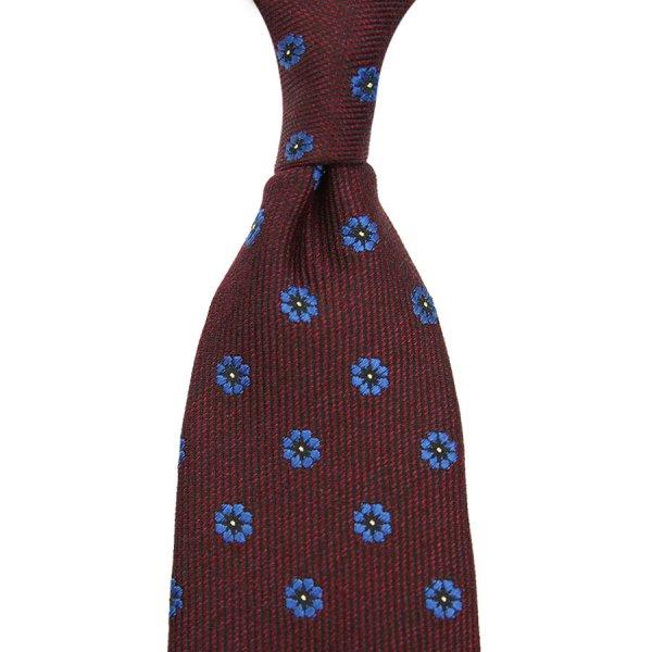 Floral Jacquard Wool / Silk Tie - Burgundy - Hand-Rolled