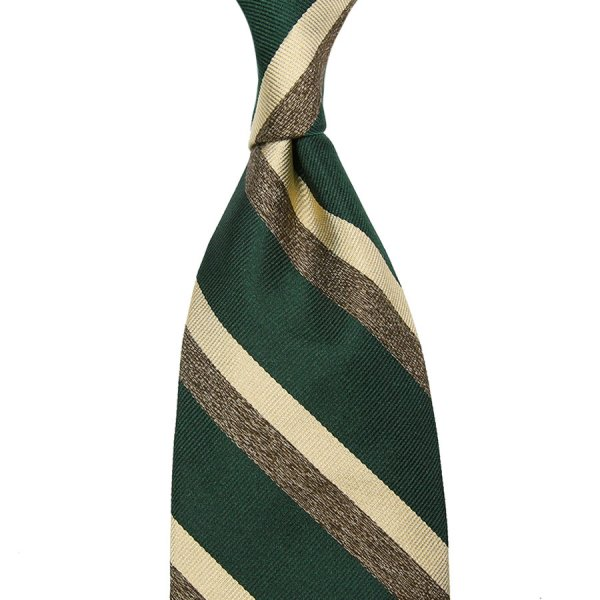 Repp Stripe Silk Tie - Forest / Ivory / Beige Mottled - Hand-Rolled