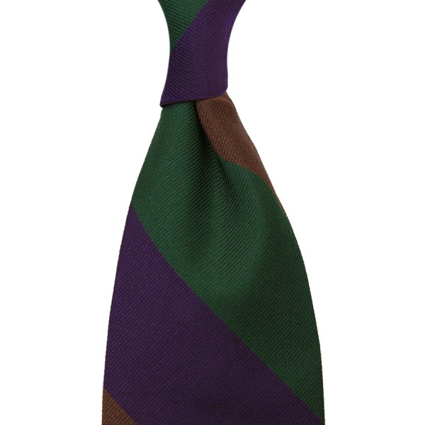 Triple Block Stripe Silk Tie - Forest / Brown / Purple - Hand-Rolled