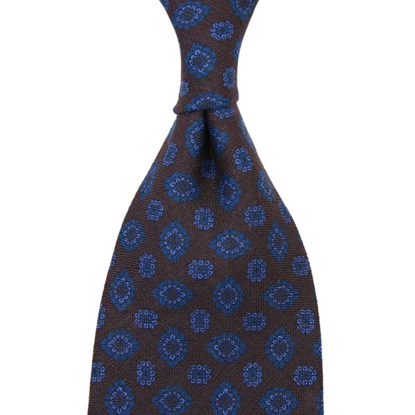 Floral Printed Madder Linen Tie - Espresso - Handrolled