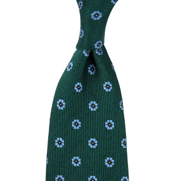 Floral Motif Wool / Silk Tie - Forest - Hand-Rolled