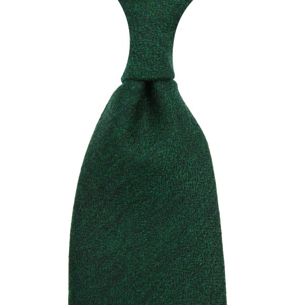 Plain Wool / Silk Boucle Tie - Forest - Hand-Rolled