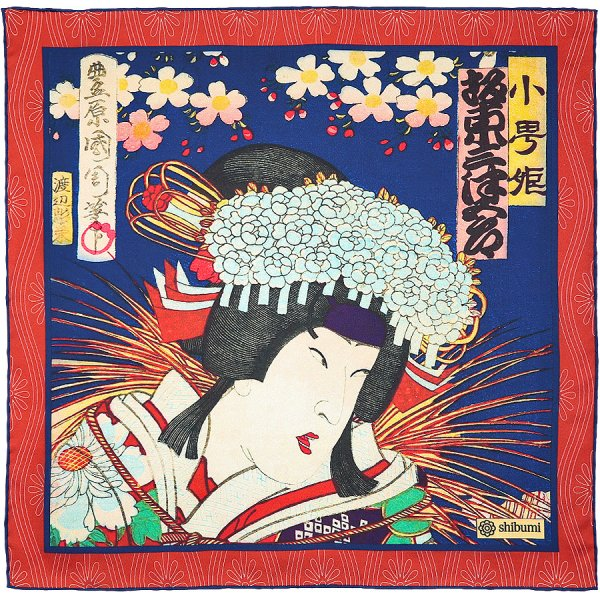 Ukiyo-e Silk Pocket Square - Onnagata - Handrolled - 40 x 40cm