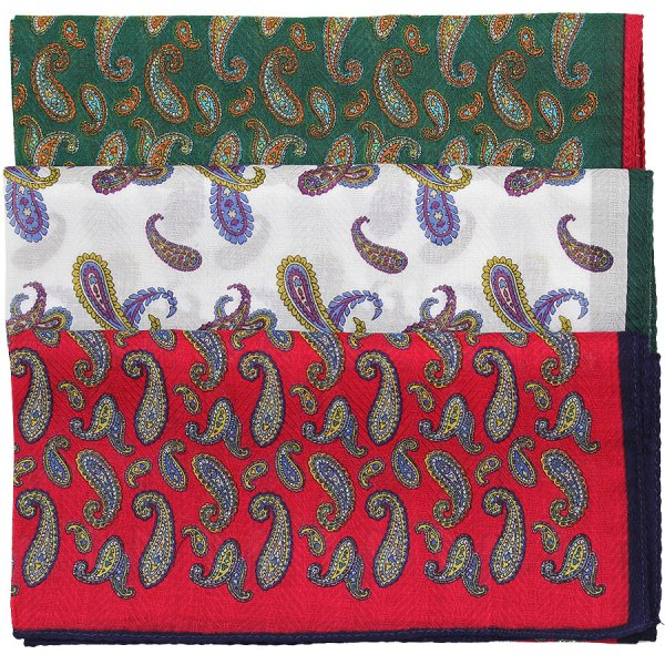 3x Paisley Printed Handkerchiefs - Cotton - Set 2