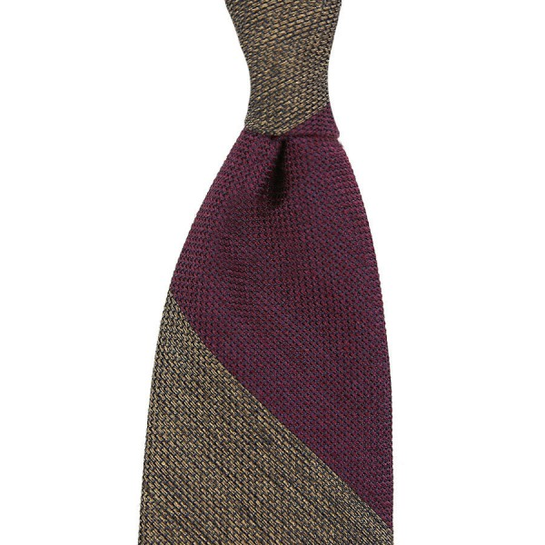 Block Stripe Silk / Wool Grenadine Tie - Burgundy / Beige - Handrolled
