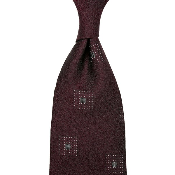 Geometrical Boucle Silk Tie - Burgundy - Hand-Rolled