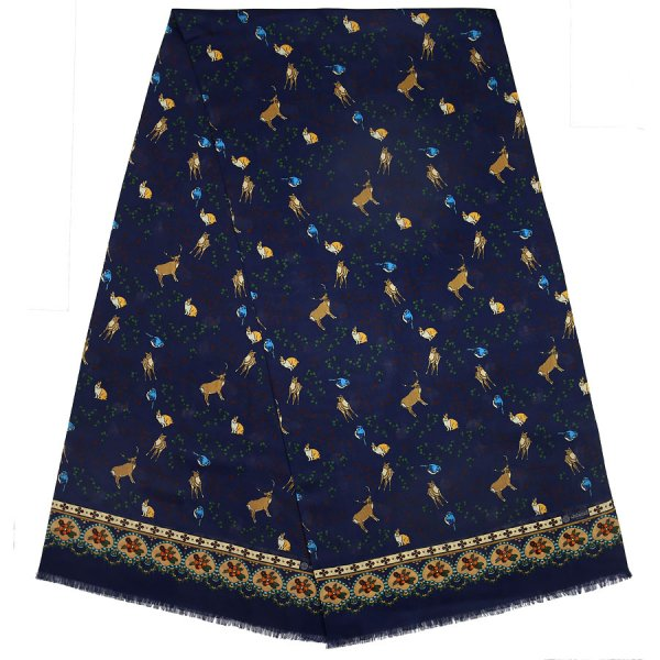 Animal Printed Wool / Silk Scarf - Navy