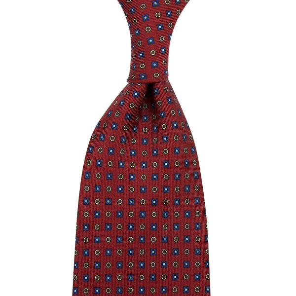 Floral Printed Silk Tie - Cherry .- Self-Tipped