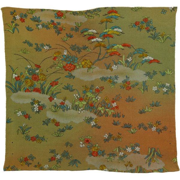Vintage Kimono Silk Pocket Square - Moss - Handrolled