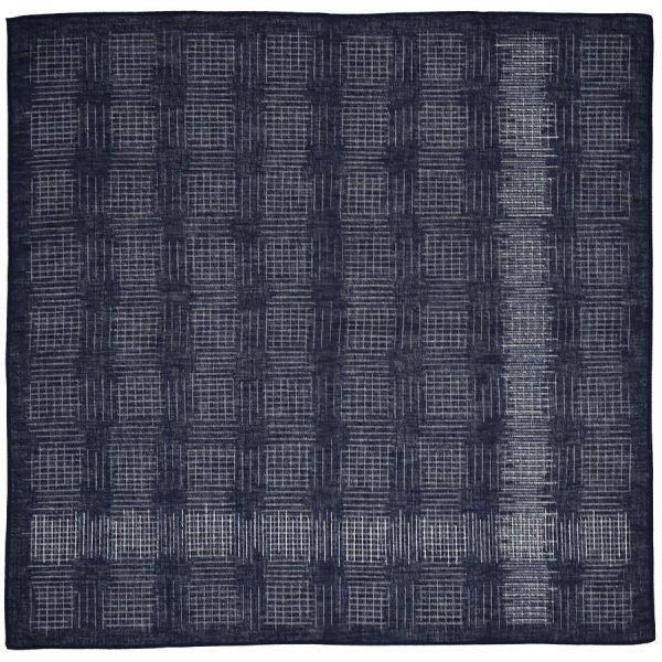 Geometrical Motif Cotton Handkerchief - Navy II