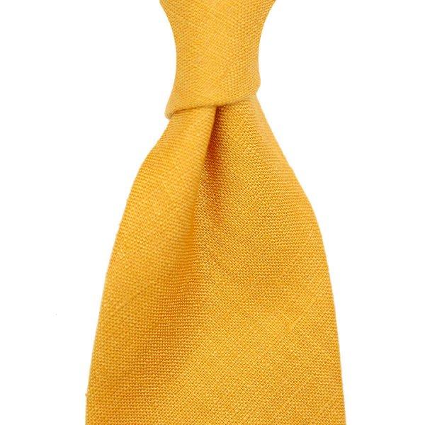 Japanese Ramie Tie - Mustard - Hand-Rolled