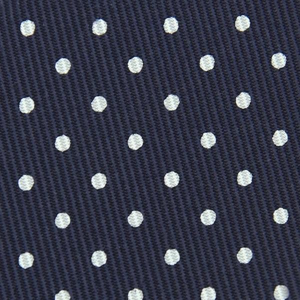 50oz Dotted Printed Bespoke Silk Tie - Navy / White