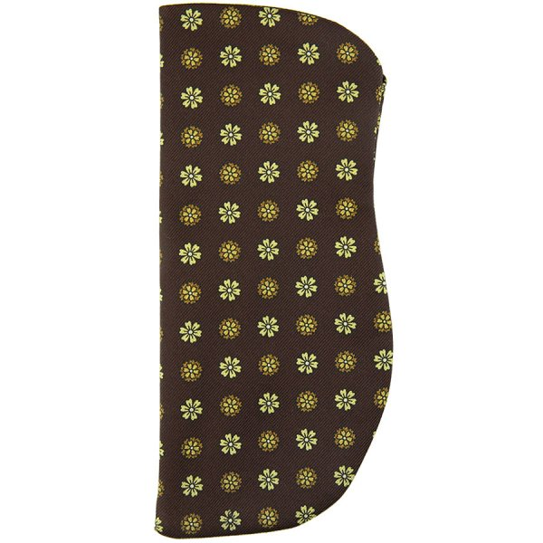 Floral Printed Silk Glasses Case - Chocolate