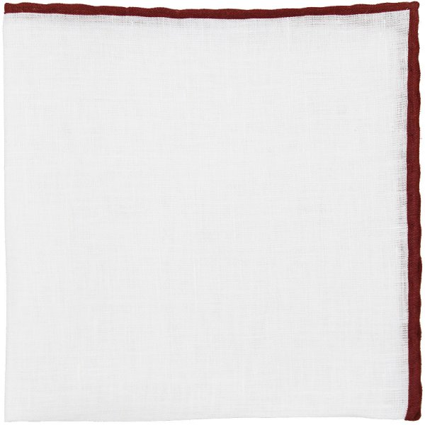 Irish Linen Shoestring Pocket Square - White / Burgundy