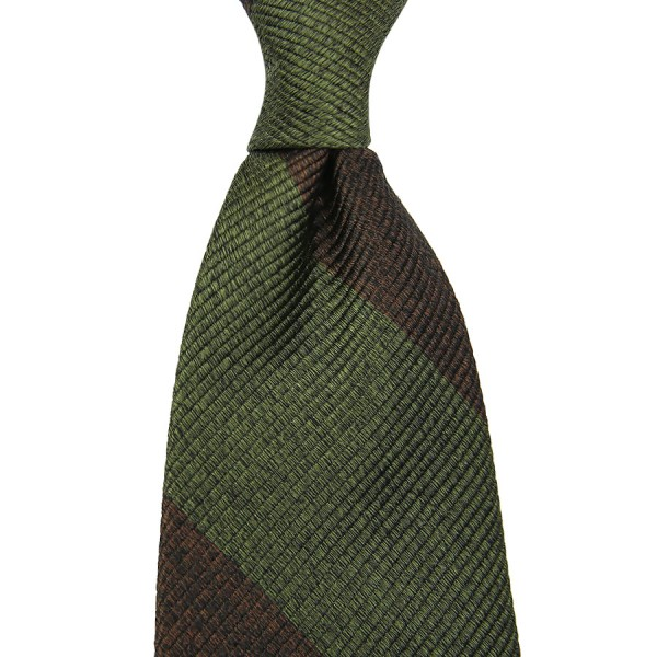Block Stripe Silk Tie - Brown / Olive Mottled - Handrolled