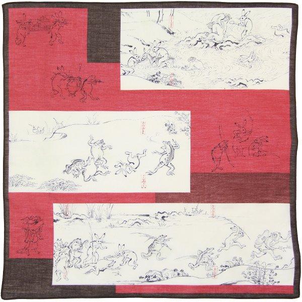 Ukiyo-e Cotton Handkerchief - Red / Brown