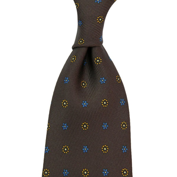 7-Fold 50oz Floral Printed Silk Tie - Chocolate - Hand-Rolled