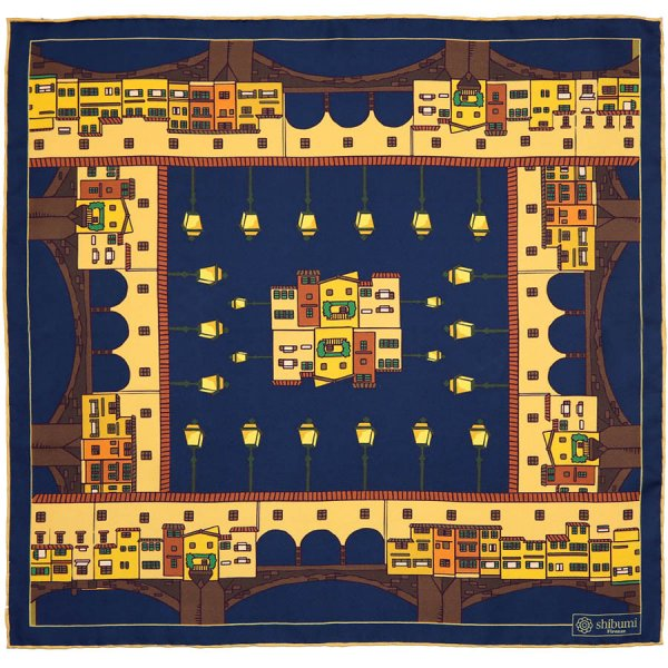 Ponte Vecchio Silk Pocket Square - Navy - 40x40cm