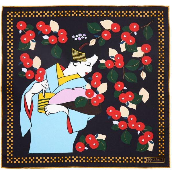 Maiko Motif Silk Pocket Square - Black - 40x40cm
