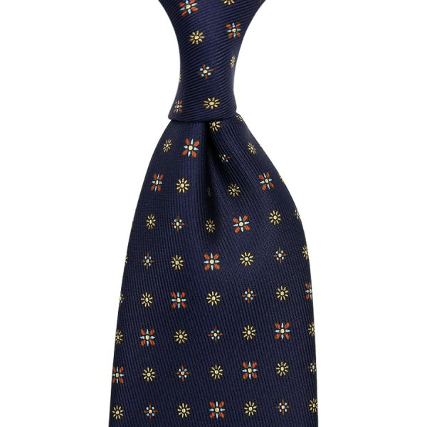 50oz Floral Printed Silk Tie - Navy - Hand-Rolled