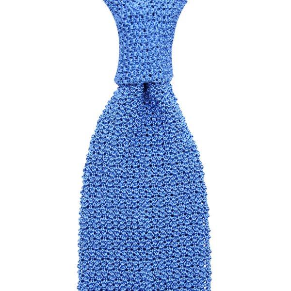 Crunchy Silk Knit Tie - Azure