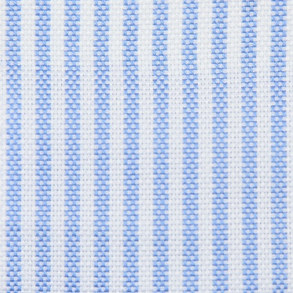 Oxford Made-To-Order Shirt - White / Sky Blue - Pencil Stripe